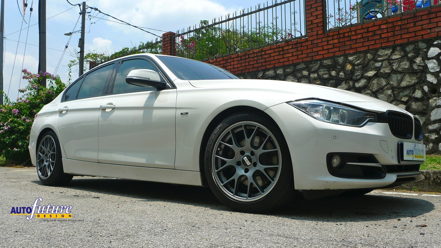 Alpine White Bmw F30 Installed With Bbs Ch R Wheels And Lowered With H R Springs Autofuture Design Sdn Bhd